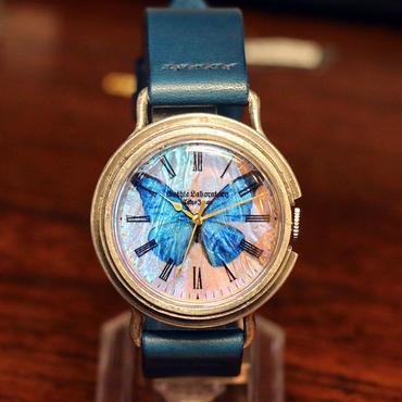 本物のモルフォ蝶の翅を文字盤にした銀製 腕時計 Sランク Lサイズ