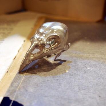 カラスの頭骨リング silver925 マット仕上