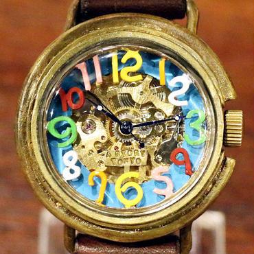 自動巻式 スケルトン 機械式腕時計 float see through 数字マルチ 文字盤ターコイズ 真鍮 オートマ