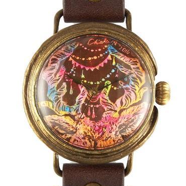 クロノキャンバス アート文字盤 手作り腕時計 Chiaki Akada「おしゃれしか」 L 33mm