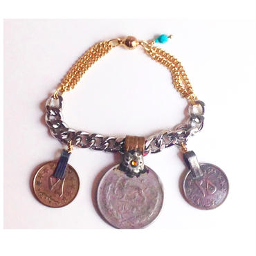 Tribal coin bracelet yellow stone turquoise Iran トライバル コイン ブレスレット cb-0003