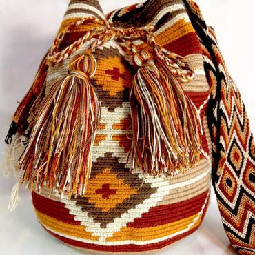 Wayuu Mochila Bag desert diamond Colombia ワユー バッグ ブラウン wy-0008