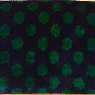 クッションカバー紺緑ウズベキスタン 約37 x 52cm ベルベットイカット dark blue velvet ikat cushion cover uzbekistan vi-0007