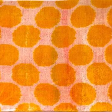 クッションカバー 黄色ウズベキスタン 約45 x 39.5cm ベルベットイカット yellow dots velvet ikat cushion cover uzbekistan vi-0006