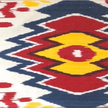 クッションカバー赤ウズベキスタン約34 x 39.5cmシルクイカット red nazar boncugu silk ikat cushion cover uzbekistan si-0003