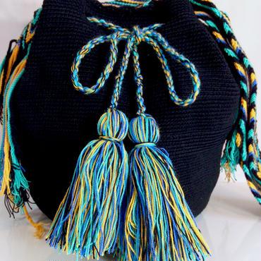 Wayuu Mochila Bag black solid Colombia ワユー バッグ ブラック wy-0003