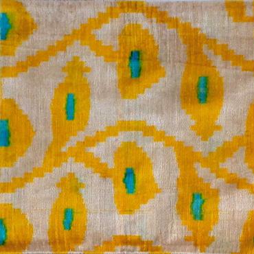 クッションカバー 黄唐草 ウズベキスタン 約37.5 x 59.5cm ベルベットイカット yellow velvet ikat cushion cover uzbekistan vi-0017