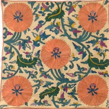 クッションカバーピンクウズベキスタン 約49 x 49cm スザニ pink suzani cushion cover uzbekistan sz-0001