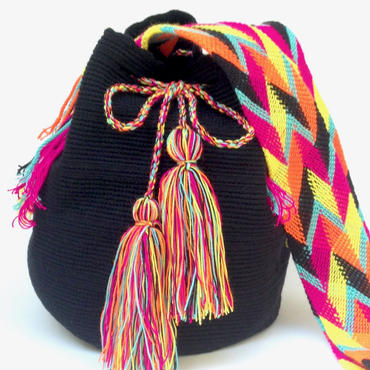 Wayuu Mochila Bag black multi-color osonuchi Colombia ワユー バッグ 黒マルチカラーストラップwy-0014