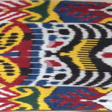 クッションカバー赤青黄ウズベキスタン 約46 x 35cm シルクイカット red blue yellow silk ikat cushion cover uzbekistan si-0008