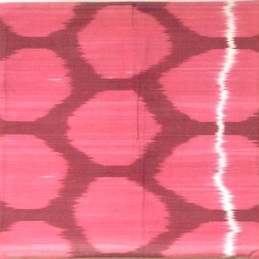 クッションカバー ピンク水玉 ウズベキスタン 約38 x 39.5cm シルクイカット pink dots silk ikat cushion cover uzbekistan si-0004