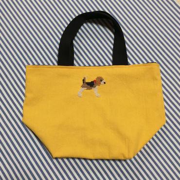 ビーグル刺繍10号帆布お散歩トートバッグマスタード