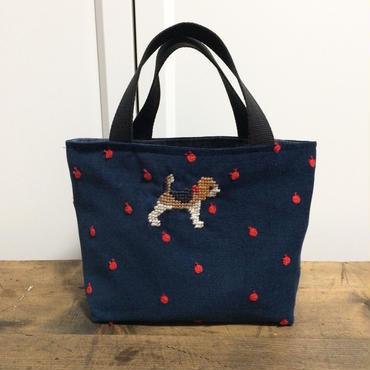 ビーグル刺繍コーデュロイりんご刺繍生地ランチトートバッグ