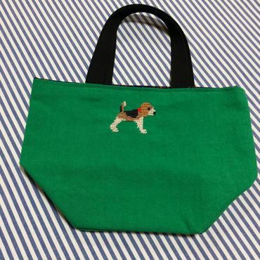 ビーグル刺繍10号帆布お散歩トートバッグ グリーン