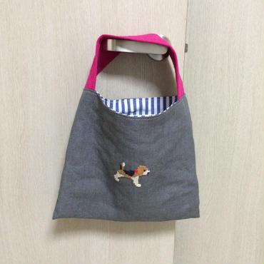 リネン  ワンハンドルミニバッグ ビーグル刺繍