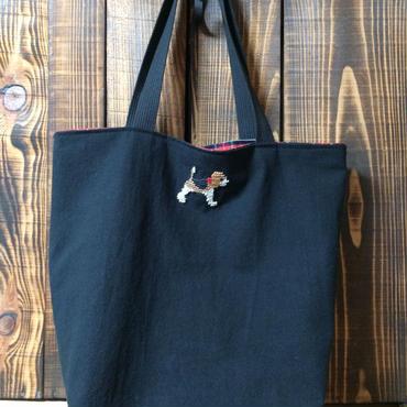 ビーグル刺繍10号帆布トートバッグ大サイズ黒