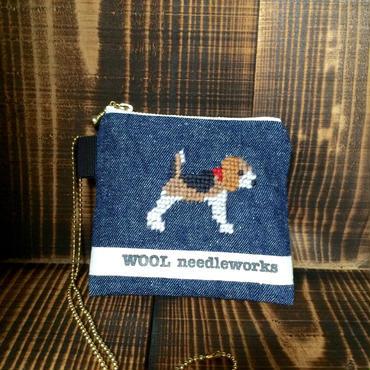 ビーグル刺繍カードケース デニム