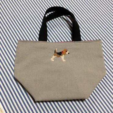 ビーグル刺繍10号帆布お散歩トートバッグ グレー