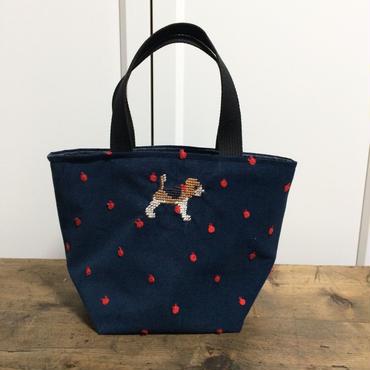 ビーグル刺繍コーデュロイりんご刺繍生地お散歩トートバッグ