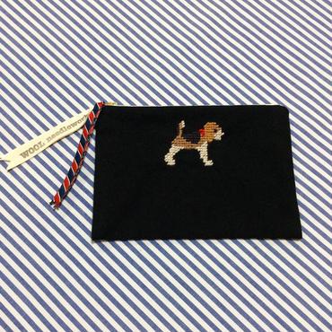 ビーグル刺繍10号帆布フラットポーチ 黒