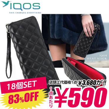SZ-01-C 【590円×18個SET】iQOS アイコス 専用ケース キルティング メンズ レディース ポーチ / ブラック×ピンク