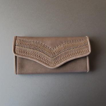 ・・W様ご注文作品・・stitch long wallet (gray)