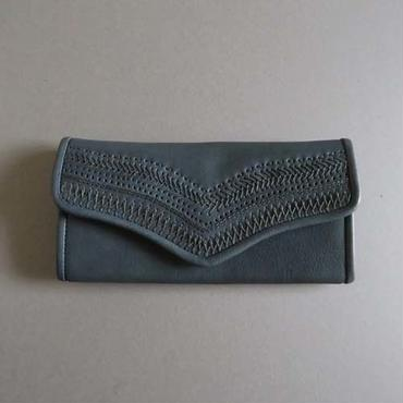 stitch long wallet (navy)