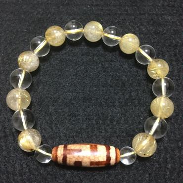卍天珠とゴールドルチルと水晶のブレスレット