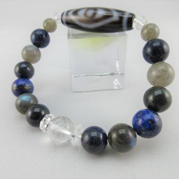 仏眼天珠とラピスラズリとアジュライトとラブラドライトと水晶のブレスレット