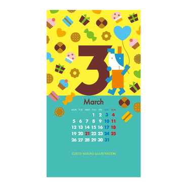 【March 2018】スマホ用壁紙(1080×1920)