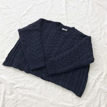 loose  cable sweater (navy) ※こちらの商品は1月10〜14日の発送となります。