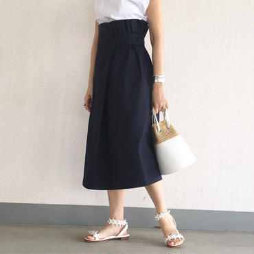 chino wrap skirt (navy)