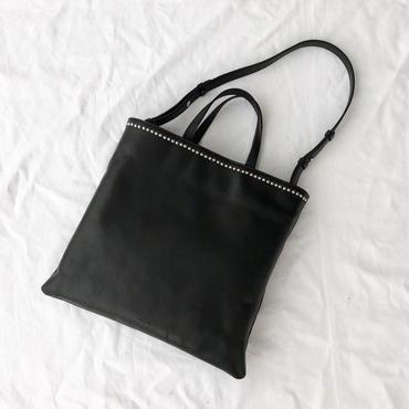 studs leather tote (black)