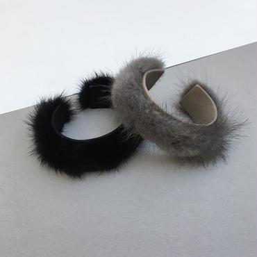 real mink bangle (black)