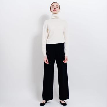high waist wool wide pants (navy)