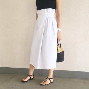 chino wrap skirt (white)