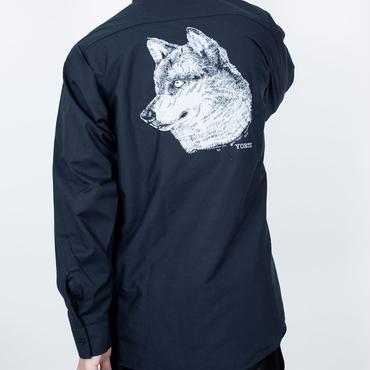 オオカミバックプリントワークシャツ