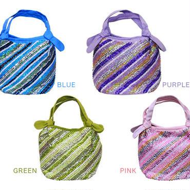 新商品【全4色】パステルスパンコール 丸形バッグ