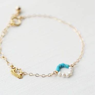 K14gf turquoise×pearl bracelet