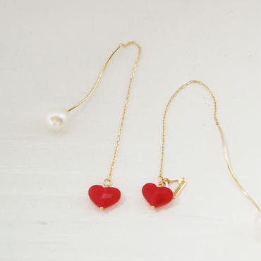 【K10 】 quartz heart pierce ・by YouuumuJewelry*