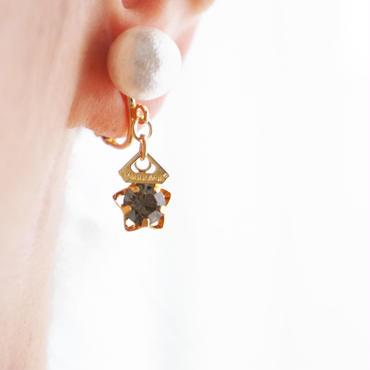 vintage star-crown earring black dia