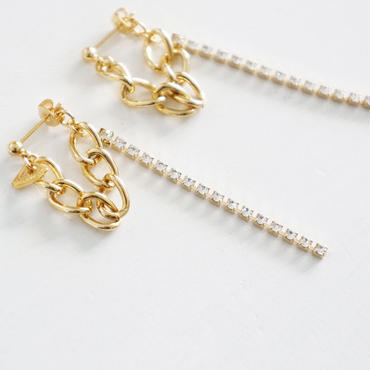 chain×rhinestone pierce