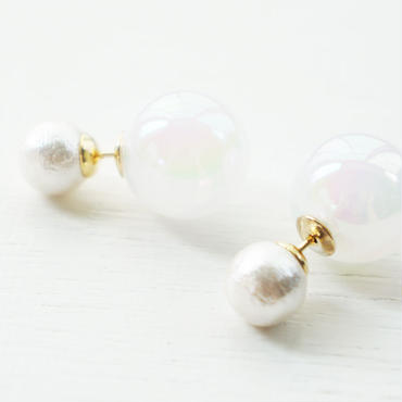 cottonpearl×whiteauroraball pierce