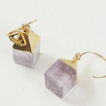 K14gf amethyst cube pierce