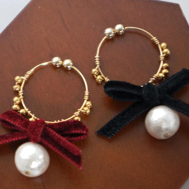 ♥ribbon♥ metal race earring