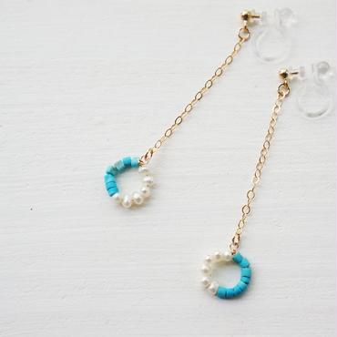 K14gf turquoise×pearl イヤリング(樹脂)