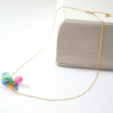 K14gf rainbow flower necklace