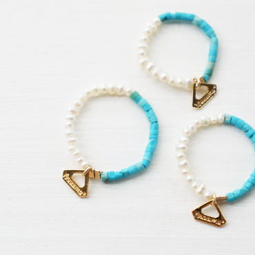 K14gf turquoise×pearl ring