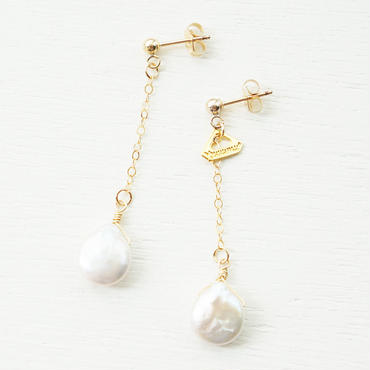K14gf drop freshwater pearl pierce