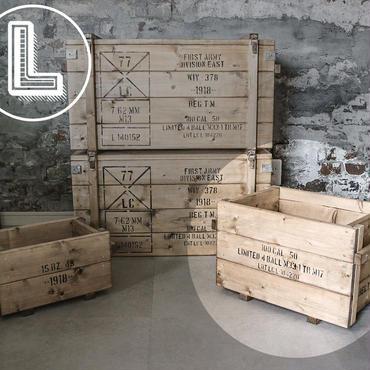 コンテナボックス風木箱Lサイズ(A4ポスター付き)